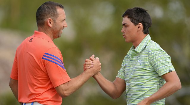 Sergio Garcia congratulates Rickie Fowler on the 18th hole during the third round of the WGC-Accenture Match Play Championship.