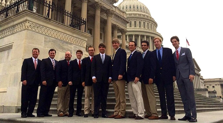 The Alabama men's golf team celebrated their national championship with President Obama at the White House on Monday.