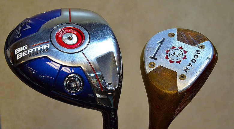 Patrick Reed has used a persimmon Ben Hogan driver as a training aid for the past month. His normal Big Bertha Alpha is at left.