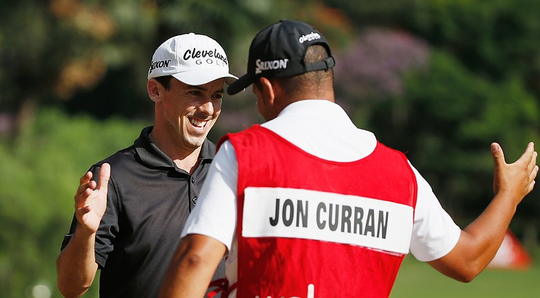 Jon Curran celebrates his win at the Web.com Tour's 2014 Brazil Champions.