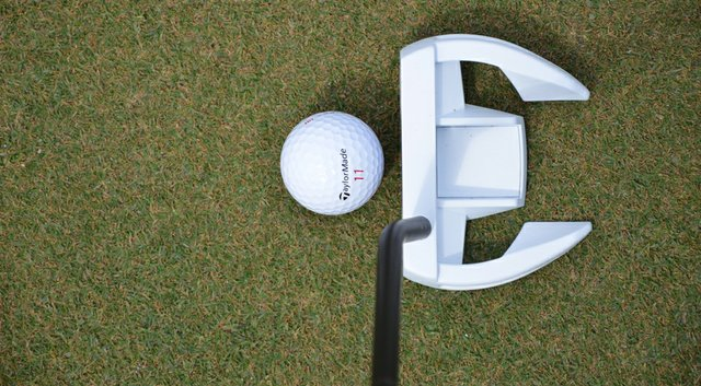 The newest member of TaylorMade's Ghost Spider family of putters – the white-headed Ghost Spider Si mallet.