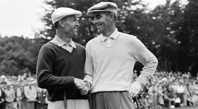 Ben Hogan (left) and Jack Fleck shake hands before teeing off at San Francisco's Olympic Club Lakeside course in extra 18-hole match to determine the winner of the 1955 U.S. Open.