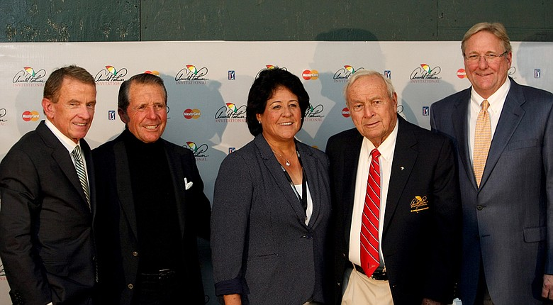 From left, PGA Tour Commissioner, Tim Finchem, Gary Player, Nancy Lopez, Arnold Palmer and Chief Operating Officer of the World Golf Hall of Fame, Jack Peter, gather for a press conference during the final round of the Arnold Palmer Invitational at Bay Hill Lodge and Club.