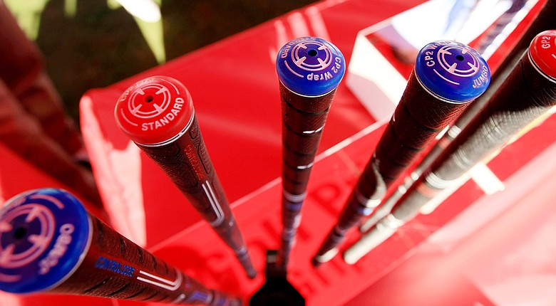 Golf Pride CP2 Wrap grips on display at the 2014 PGA Merchandise Show in Orlando, Fla.