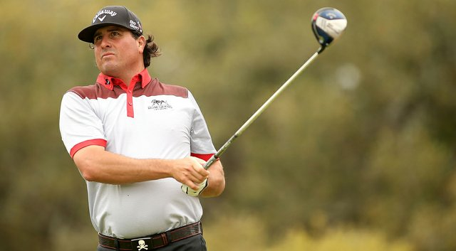 Pat Perez tees off on the 12th hole during the first round of the Valero Texas Open in San Antonio.