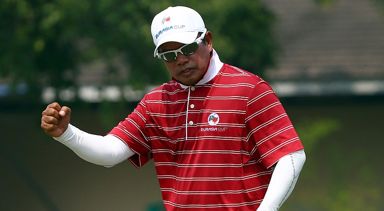 Prayad Marksaeng of Team Asia reacts on the 13th hole in the foursome matches against Team Europe during Day 2 of the EurAsia Cup.