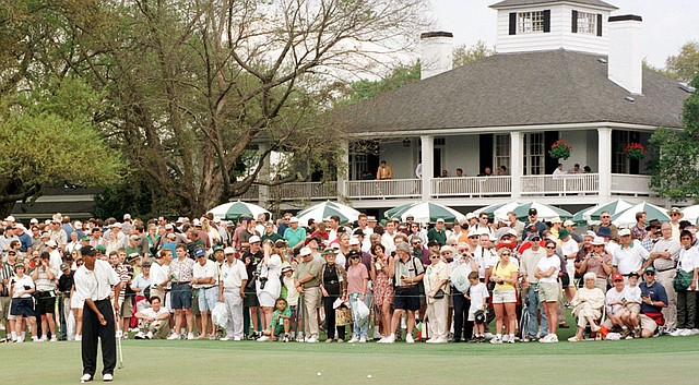Yep, just like Tiger Woods, the finalists of the inaugural Drive, Chip and Putt competition will take to the practice green by the Augusta National clubhouse in front of a crowd.