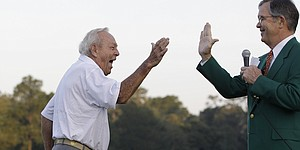 Arnie's ceremonial tee shot to mark 50 years
