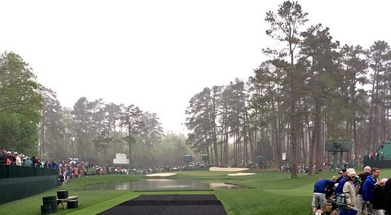 Joost Luiten got a picture of No. 16 at Augusta National as Masters practice was halted Monday because of storms.