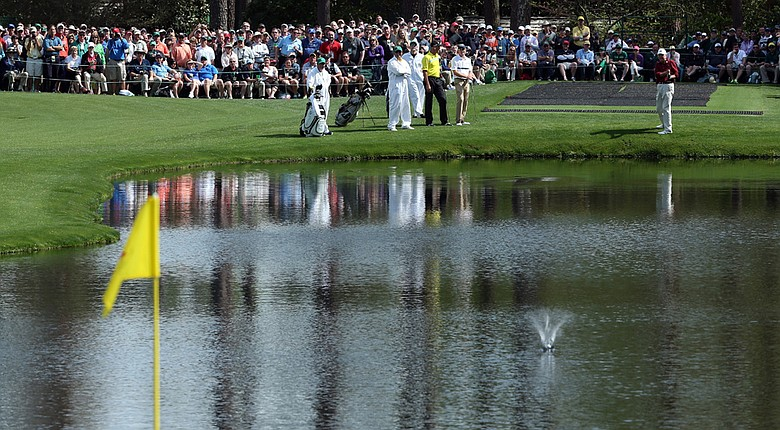 Al Geiberger skips a ball on the 16th hole during a practice round on Tuesday at Augusta National.