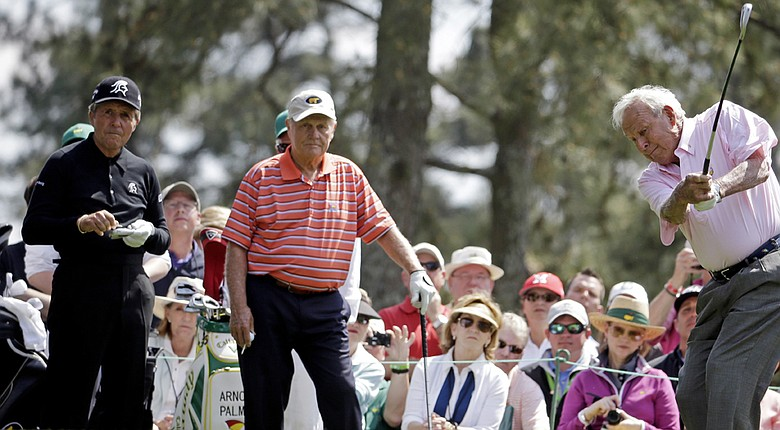 Expect Gary Player, from left, to outdrive Jack Nicklaus and Arnold Palmer on Thursday at Augusta National to open the 2014 Masters.