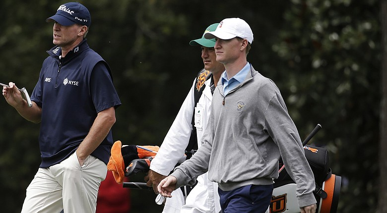 Jordan Niebrugge, right, plays a practice round at Augusta National with Steve Stricker before the 2014 Masters.
