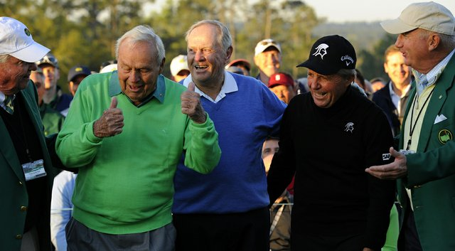 Arnold Palmer (left), Jack Nicklaus (center) and Gary Player (second from right) share a laugh after starting the 78th Masters.
