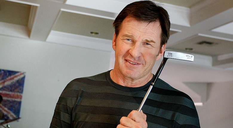 Nick Faldo holds his TaylorMade TPA XVIII putter he used in the final round of his 1989 Masters victory.