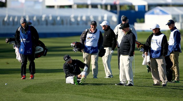Jordan Spieth, fresh off a T-2 finish at the Masters, was hit by a wedge shot from his amateur playing partner during the pro-am at the RBC Heritage.