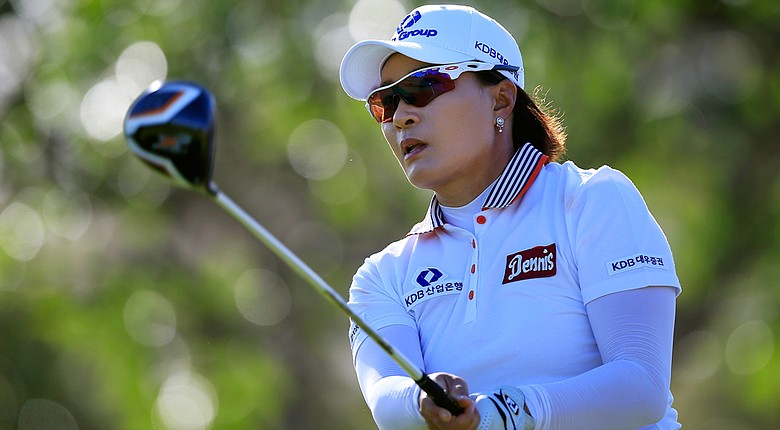 Se Ri Pak hits her first shot on the 6th hole during the first round of the LPGA LOTTE Championship.