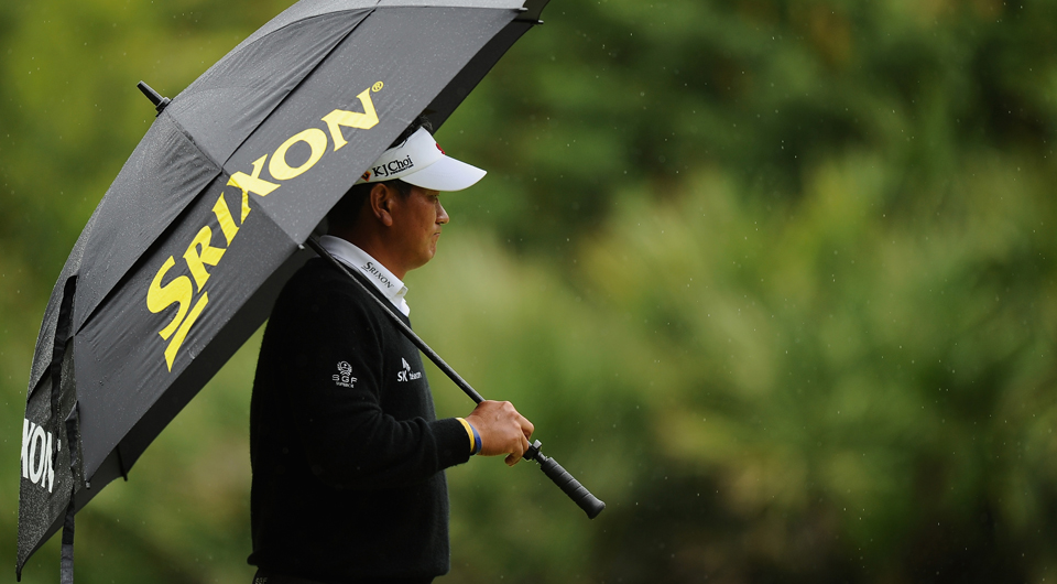 Before the rain got to the point that RBC Heritage play had to be halted Friday, K.J. Choi rose to 5 under while a trio of first-round co-leaders fell off the mark. Here are 5 Things to know.