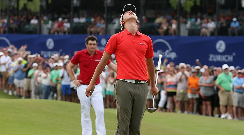 Seung-Yul Noh celebrates his two-shot victory at the Zurich Classic.
