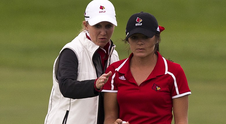 Louisville coach Courtney Trimble, left, led the Cardinal to two fall victories.