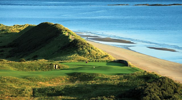 The par-4 fifth hole, 'White Rocks,' on the Dunluce Course at Royal Portrush Golf Club in Northern Ireland.