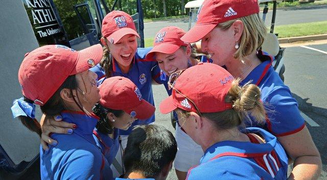 The Kansas Jayhawks women's golf team after advancing through regional play to the NCAA championship.