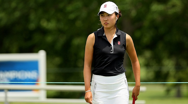 Lauren Kim of Stanford during the first round of the 2014 NCAA Division I Women's Championship in Tulsa, Okla.