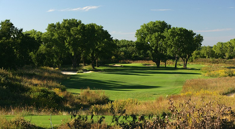 The par-4 12th hole at the Prairie Dunes Country Club in Hutchinson, Kansas, site of the 2014 Men's NCAA Championship.
