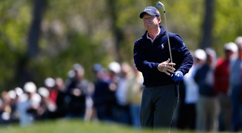 Tom Watson posted a 3-under 68 to jump into a five-way tie for the lead at the Senior PGA Championship on Friday.