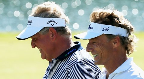 Colin Montgomerie and Bernhard Langer are tied for the lead after 54 holes at the Senior PGA Championship (shown here at the Insperity Championship earlier this month on Champions Tour).