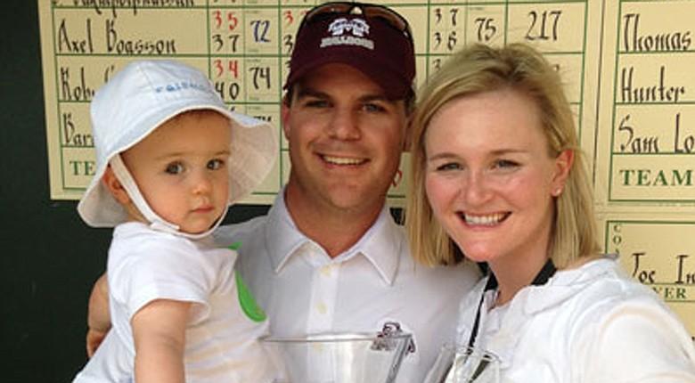 Sean Covich (center) was named men's golf head coach at West Virginia.
