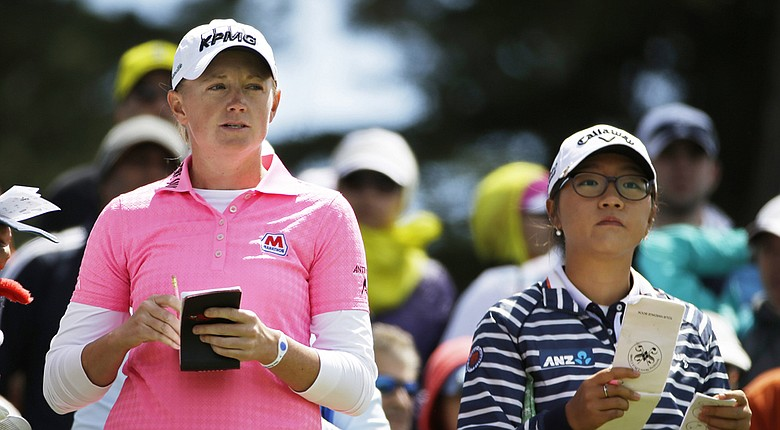 "Stacy Lewis (left, with Lydia Ko) says the new KPMG Women's PGA Championship will ""change women's golf."""