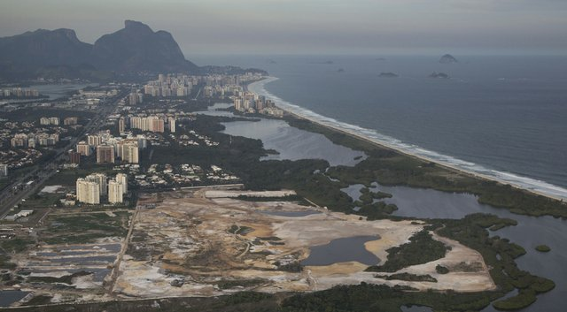 The golf course for the Rio 2016 Olympics is shown under construction May 13.