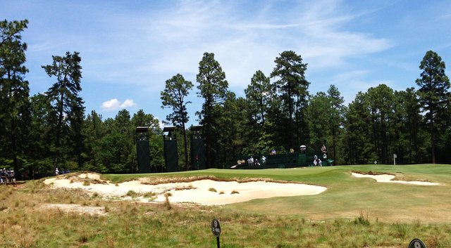 The ninth green at Pinehurst No. 2 is being watched closely by the USGA.