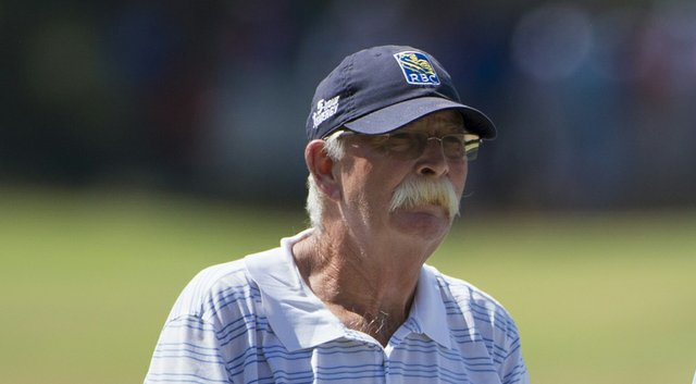 """Caddie Mike """"Fluff"""" Cowan during practice for the 2014 U.S. Open at Pinehurst, where he looped for Jim Furyk before going on to work with Lydia Ko in the U.S. Women's Open the next week."""