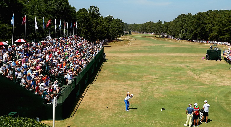 Dustin Johnson hits his tee shot on the first hole during the final round of the U.S. Open at Pinehurst.