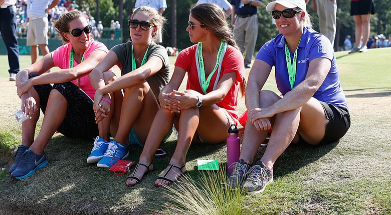 LPGA players (left to right) Brittany Lang, Jaye Marie Green, Belen Mozo and Brittany Lincicome stand to inherit good turfgrass conditions at Pinehurst No. 2 for the U.S. Women's Open (shown here Sunday).