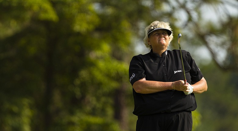 Laura Davies plays a practice round on Tuesday at Pinehurst No. 2, two days ahead of the start of the U.S. Women's Open.