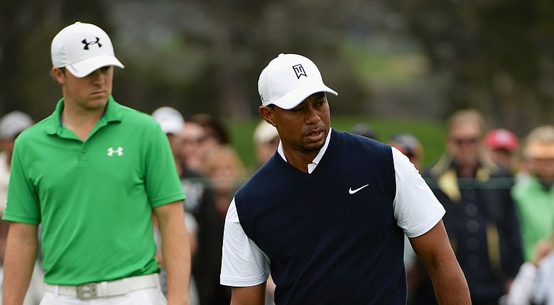 Tiger Woods and Jordan Spieth will share a tee time for the first two rounds of the PGA Tour's 2014 Quicken Loans National (shown here earlier this year at the Farmers Insurance Open).