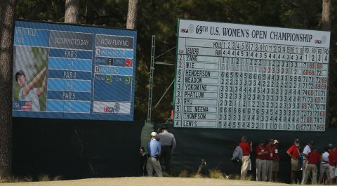 The USGA for the first time employed digital scoreboards for the 2014 U.S. Open doubleheader at Pinehurst.