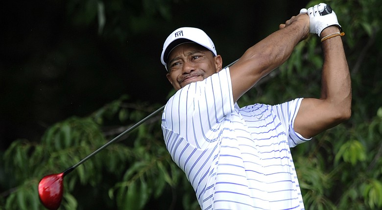 Tiger Woods during Wednesday's pro-am for the PGA Tour's 2014 Quicken Loans National at Congressional CC.