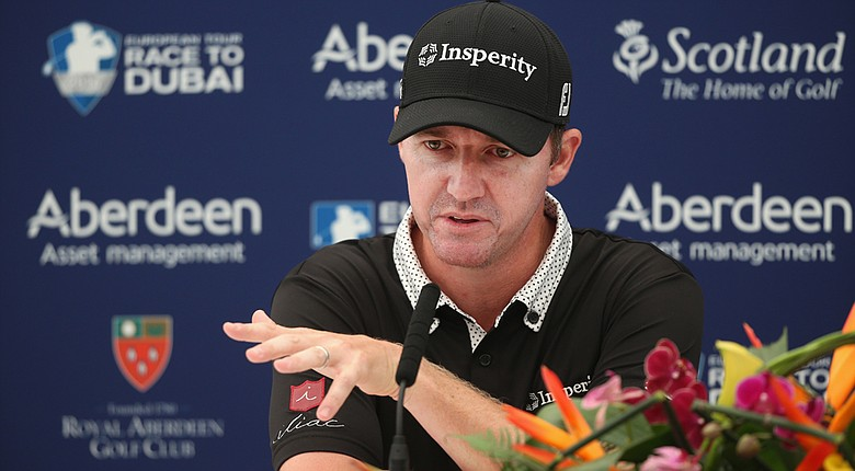 Jimmy Walker addressed the media prior to his start at the 2014 Scottish Open.