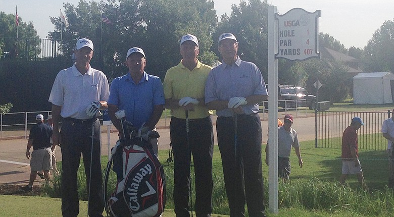 Rob Gibbons, Bruce Stewart and Pat O'Donnell played a practice round with Peter Jacobsen (right) at the U.S. Senior Open on Tuesday.