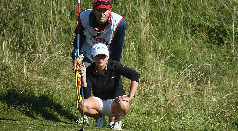Mo Martin will share a tee time with Beatriz Recari in Saturday's third round of the 2014 Women's British Open at Royal Birkdale (shown here during second-round play).