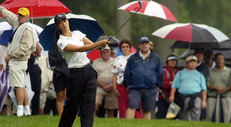 Michelle Wie watches her shot during match play at the men's Amateur Public Links at the Shaker Run Country Club in Lebanon, Ohio, on July 13, 2005.
