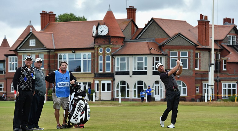 Graeme McDowell (right) says there is no advantage for players who bomb the ball off the tee at Royal Liverpool.