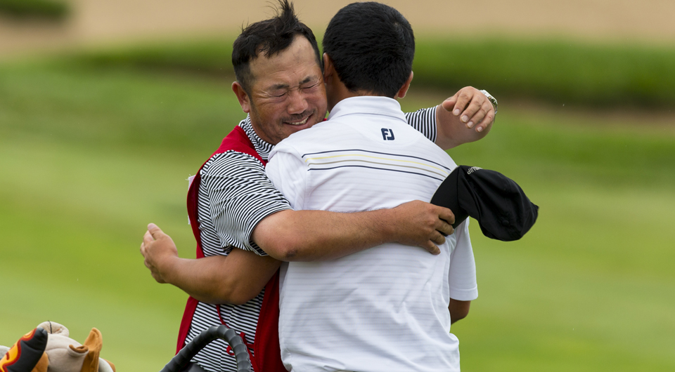 Aided by the support of his father, Doug Ghim managed to knock off the defending Public Links champion, Jordan Niebrugge, in an exciting 23-hole match on Thursday in Newton, Kan.