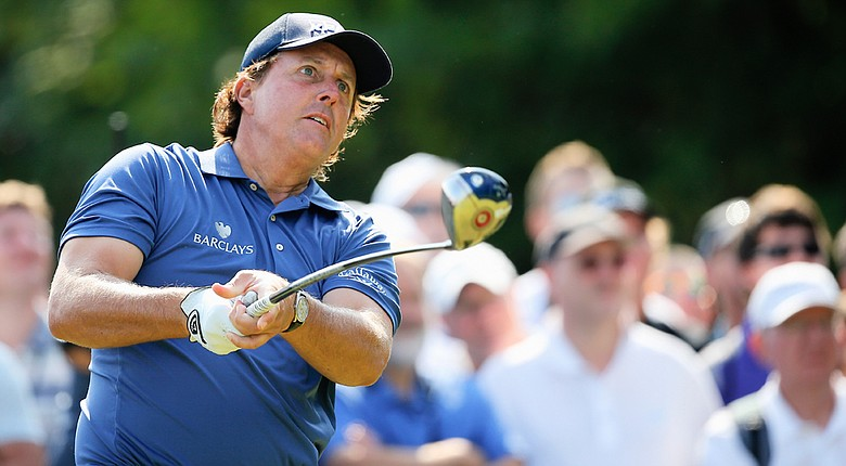 Phil Mickelson carded a 2-under 70, capped by a birdie at the par-5 18th.