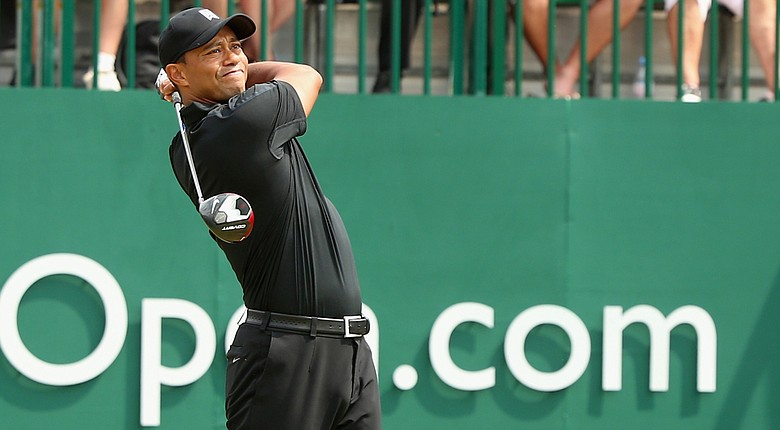 Tiger Woods ran into trouble on his first two holes with driver in hand, including a double bogey at the par-4 first hole.