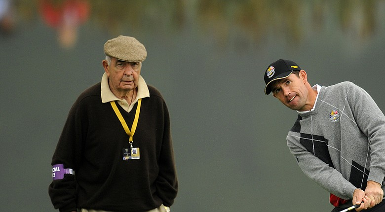 Bob Torrance, who died July 18, works at the 2010 Ryder Cup with Padraig Harrington.