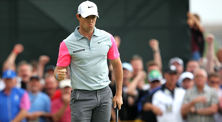 Rory McIlroy celebrates making birdie on No. 9 during the final round of the 2014 British Open.